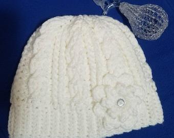Women's Crocheted Beanie, Women's Crocheted Hat, Hat with Flower, Women's Accessories, Winter Hat, Winter Beanie, Warm Hat, Gifts for Her