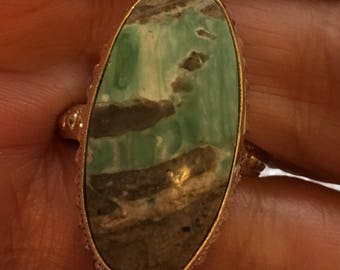 Size 60 - Green variscite natural stone, sterling 925 silver ring.