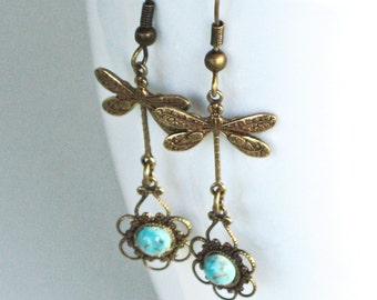 Dragonfly Turquoise Earrings - Brass Filigree Earrings, Dragonfly Jewelry, Nature Jewelry
