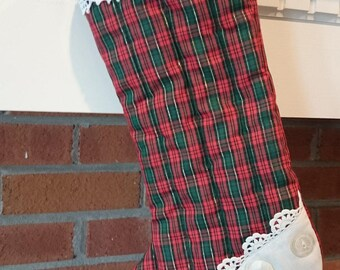 Vintage Handmade Tartan and Lace Christmas Stocking/ Country Christmas/ Mini-tartan
