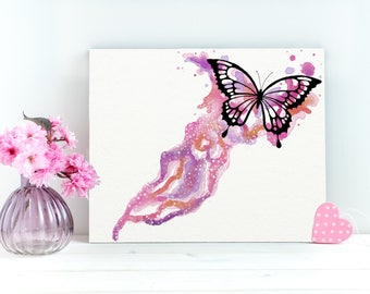 Pink Butterfly Print, Butterfly Art Canvas, Watercolor Butterfly Art, Butterfly Wall Art Decor, Butterfly Art Gift,Butterfly Tabletop Canvas