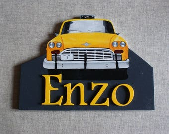 door sign with name choice - yellow Taxi NY