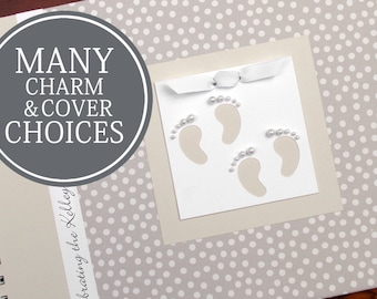 TWIN Baby Shower Guest Book   Guestbook   Personalized Baby Shower Book   Twins   Small Cream Polka Dots