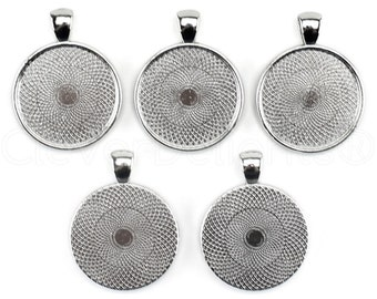 "20 - 1"" Pendant Trays - Platinum - 25mm Round Pendant Settings - Vintage Antique Style Pendant Blanks Bezel 25 mm 1"" Diameter"