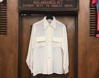 Vintage 1950s White Diamond Acetate Loop Collar Rockabilly Shirt, 1950s Shirt, Vintage Clothing, Vintage Shirt