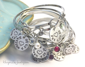 Personalized Name Bangle ~ Initials ~ Date ~ Heart Charm Bangle ~ Birthstone Bracelet ~ New Mommy ~ Mom ~ Mother ~ Infinity Bracelet