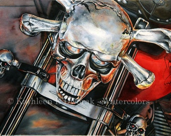 Skull and Chromebones- signed limited edition watercolor print