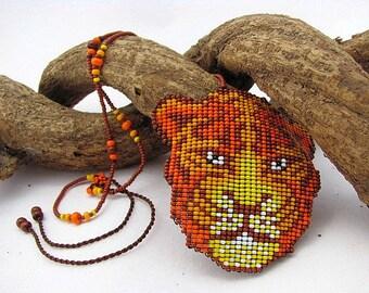 Seed Beaded Jaguar Necklace, Spirit Animal Necklace,  Beadwork Jaguar. Art Jewelry