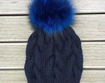 Blue Pom-Pom Fox Fur Beanie Hat