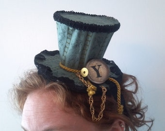 Y...steampunk tinker blue and black victorian mini top hat