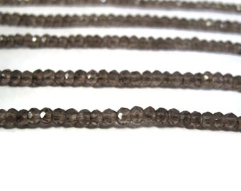 Natural Smoky Quartz Beads, 3.5mm - 4mm Faceted Rondelles, Gemstone Beads for Making Jewelry, 13.5 Inch Strand, Over 120 Beads (R-SQ4)
