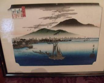 Japanese Fishing boats Print , framed, (# 932/56)