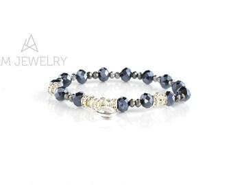 Glass Bracelet, Boho Bracelet, Mother's day Gift, Gift for Wife, Blue gray Bracelet, K8133