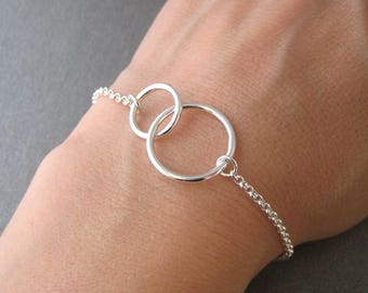 Bracelet two circles intertwined rings crossed you and me karma Silver 925/1000