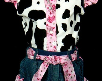 Beautiful Michael Miller PINK Sweet Horsey upcycled cowgirl  shorts outfit with custom made matching blouse. order your size