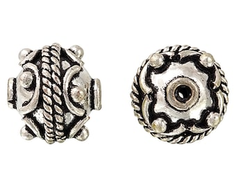 5 Pcs 13 mm Silver Plated Round Bali Style With Ornate Design Handmade Beads (SPL5001014)