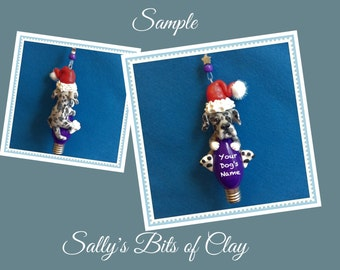Blue Merle Great Dane Santa DOG Christmas Holidays Light Bulb Ornament Sally's Bits of Clay PERSONALIZED FREE with dog's name