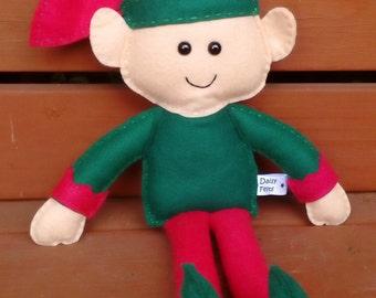 Elf, Christmas Elf, Felt Elf, CE Tested, Soft Toy, Elf Doll, Red, Green, Childrens Toy, Elf, Boy,  Christmas Elf, Stuffed Toy, Cheeky Elf