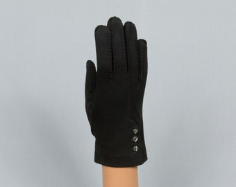 Black Gloves wrist length gloves Stretch nylon jersey, 3 pearl button placket and Decorative stitching /placket on back, Excellent condition