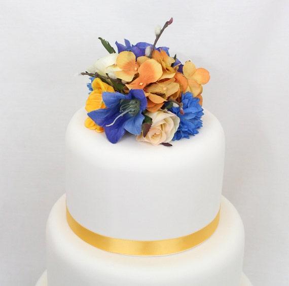 Silk Flower Wedding Cake Toppers: Wedding Cake Topper Blue Yellow Rose Hydrangea Silk Flower