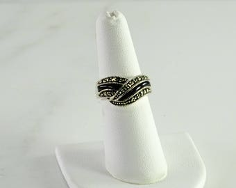 Onyx Marcasite Sterling Ring Size 6.75