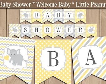 Yellow and Grey Elephant Baby shower banner. Gender neutral Baby shower decorations. Boy or Girl Printable Bunting Banner. Instant download
