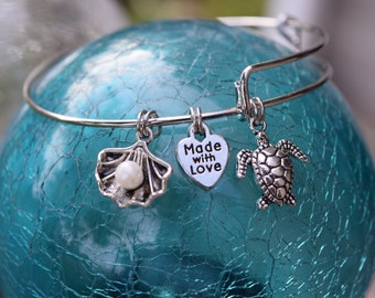 Sea Turtle Charm Bracelet, Adjustable Bracelet, Charm Bracelet