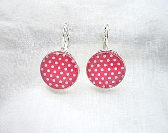 Red polka-dot earrings
