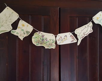 Paper Bunting, Country Diary Of An Edwardian Lady, Eco Friendly Banner, Nature Garland, Paper Garland, Party Decoration.