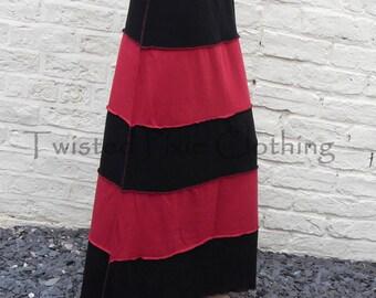 Gothic Long Stripy Skirt ~ Goth ~ Grunge ~ Alternative ~  Sizes 6 to 30 ~