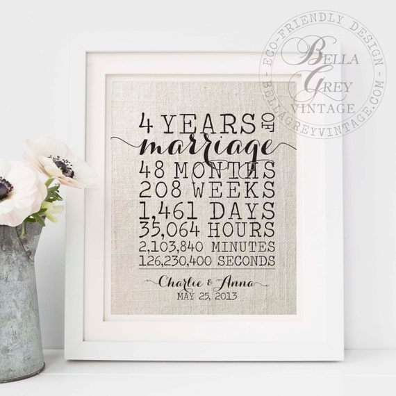 Traditional 4th Year Wedding Anniversary Gift: 4 Years Of Marriage Personalized Linen 4th Anniversary Gift