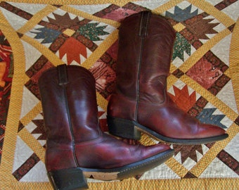 Boots, Brown, Leather, short, western, men 8, women 9 / Unisex