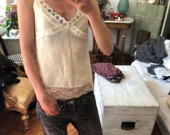 Vintage S / Silk lace ivory camisole slip small