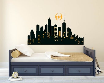 Superhero decal, Superhero Bedroom wall decal, Superhero  Skyline city wall art Boys wall decals Buildings boys room
