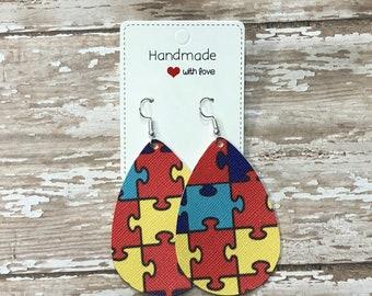 Autism Support Print Faux Leather Teardrop Drop Earrings