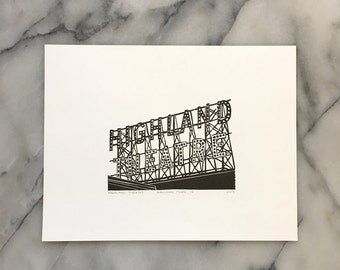 Highland Theatre, Unframed Letterpress Print