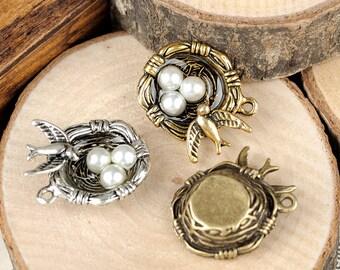 DIY  jewelry 10 pcs of antique bronze or silver bird's nest charm pendant 29X20mm