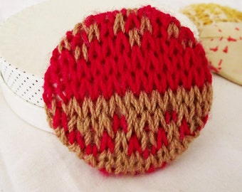 Red Knitted Fairisle brooch - Jumbo button brooch - chunky textile jewellery
