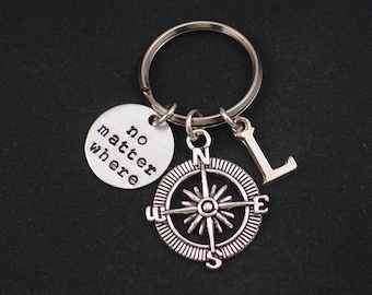 no matter where keychain, hand stamped keyring, sterling silver filled, initial keychain, compass charm, best friend, long distance gift