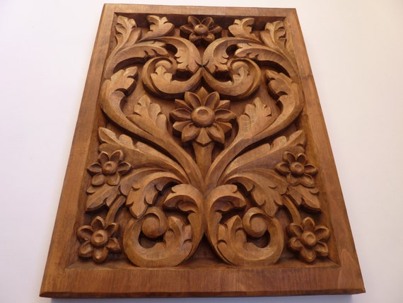 woodcarving wooden flowers wood art wall hanging home decor. Black Bedroom Furniture Sets. Home Design Ideas