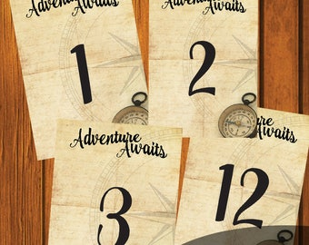 Table Numbers / Adventure Awaits Table Numbers / Wanderlust Wedding Table Numbers / 1-12  / Wanderlust  / Rustic / Instant Download