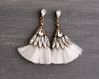 Chandelier Earrings - White Tassel Earrings - Party Earrings - Tassel Earrings - White Earrings - Rhinestone Earrings, Tassle Earrings,
