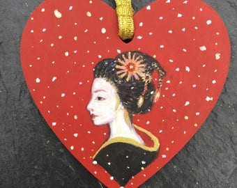 Geisha Girl miniature painting , gift tag tree ornament decoration.