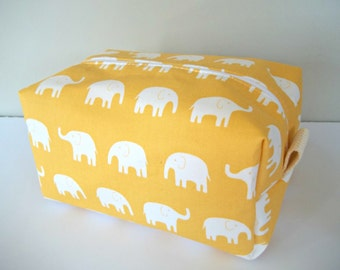 Yellow Elephant Makeup Bag - Waterproof Cosmetic Bag - Daiwabo Fabric