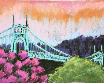 Original pastel drawing st johns bridge turquoise art cityscape bridge art cityscene portland oregon 9x12inches
