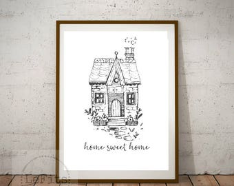 Home sweet home 2, black and white digital print, hand-drawn sketch printable, 8x10 instant download, wall art.