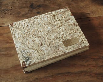 rustic guest book -  custom birch bark  cabin vacation home lake home mountain home guestbook memorial book  -made to order