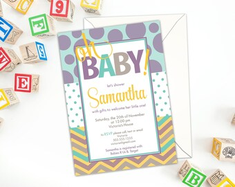 Oh Baby! Shower Invitation with Envelopes. Baby Shower Invitation, Custom Shower Invitation, Fun, Colorful Chevron and Polka Dots Shower