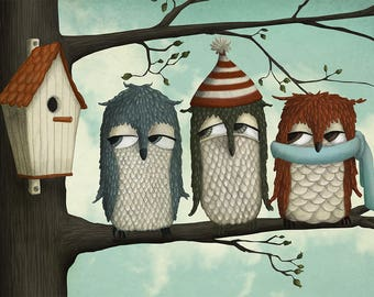 Winter owls - Art print by Majali