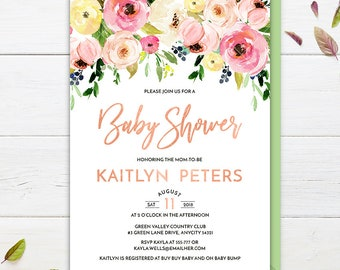 Baby Shower Invitation, Pink Floral Baby Shower Invite, Spring Flowers Baby Shower Printable Invitation